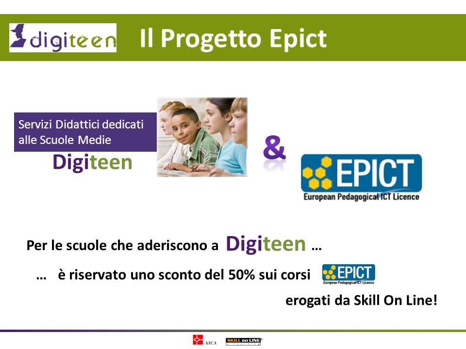 Per le scuole che aderiscono a Il Progetto Epict Digiteen Servizi Didattici dedicati alle Scuole Medie Digiteen è riservato uno sconto del 50% sui cor