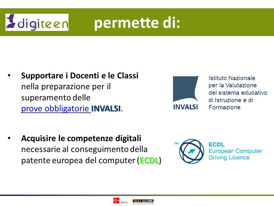 permette di: Istituto Nazionale per la Valutazione del sistema educativo di Istruzione e di Formazione INVALSI ECDL Acquisire le competenze digitali n