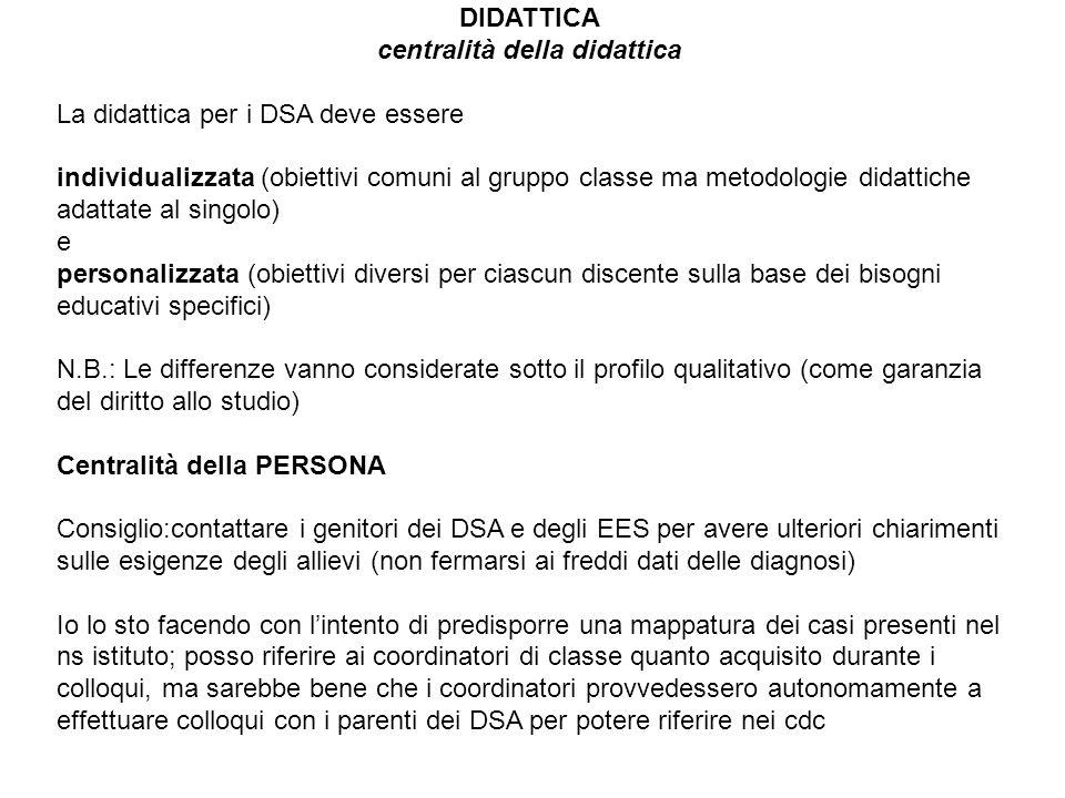 DIDATTICA centralità della didattica La didattica per i DSA deve essere individualizzata (obiettivi comuni al gruppo classe ma metodologie didattiche
