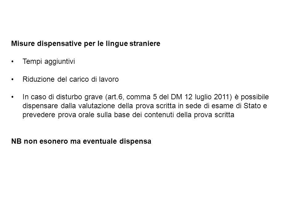 Misure dispensative per le lingue straniere Tempi aggiuntivi Riduzione del carico di lavoro In caso di disturbo grave (art.6, comma 5 del DM 12 luglio