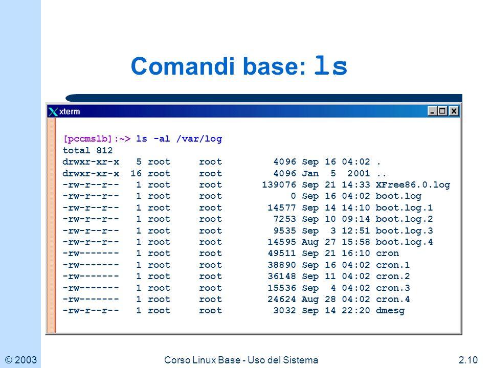 © 20032.10Corso Linux Base - Uso del Sistema Comandi base: ls [pccmslb]:~> ls -al /var/log total 812 drwxr-xr-x 5 root root 4096 Sep 16 04:02.