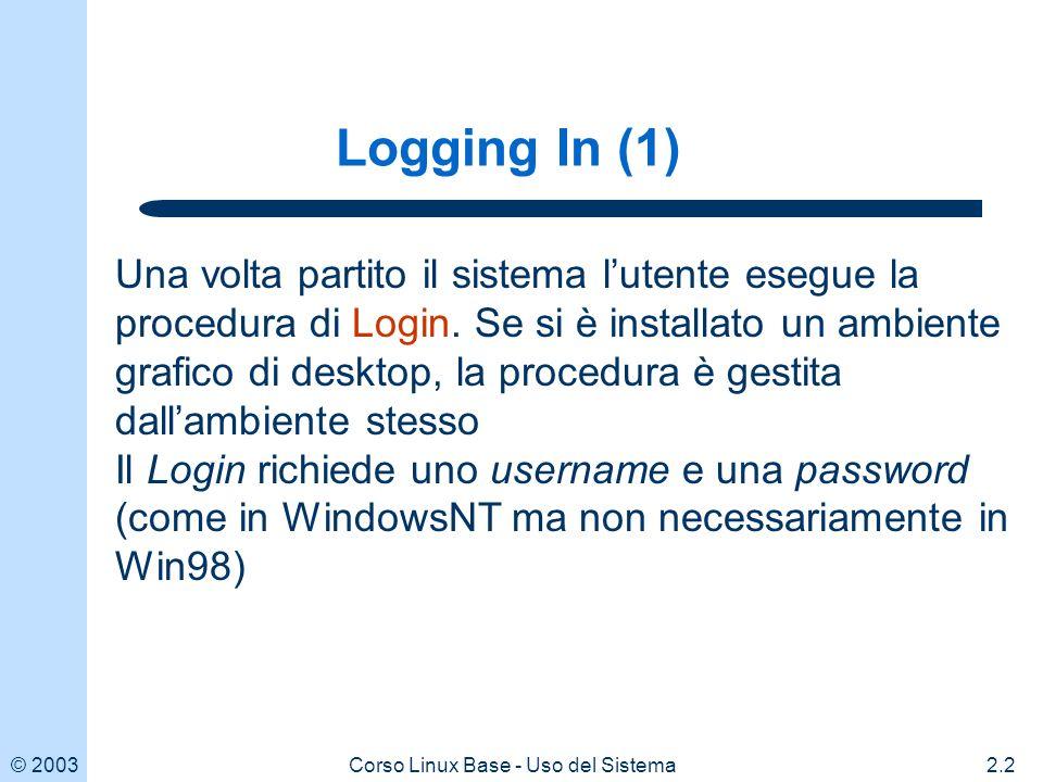 © 20032.3Corso Linux Base - Uso del Sistema Logging In (2) Al momento della registrazione, allutente viene assegnato anche una zona di disco identificata come home directory Alla fine della procedura di Login lutente si trova nella sua home directory cioè in una zona di disco in cui ha tutti i privilegi per creare nuovi files o directories (v.