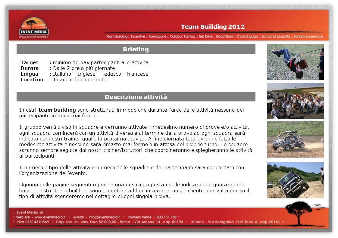 Team Building 2012 Briefing Descrizione attività I nostri team building sono strutturati in modo che durante larco delle attività nessuno dei partecipanti rimanga mai fermo.