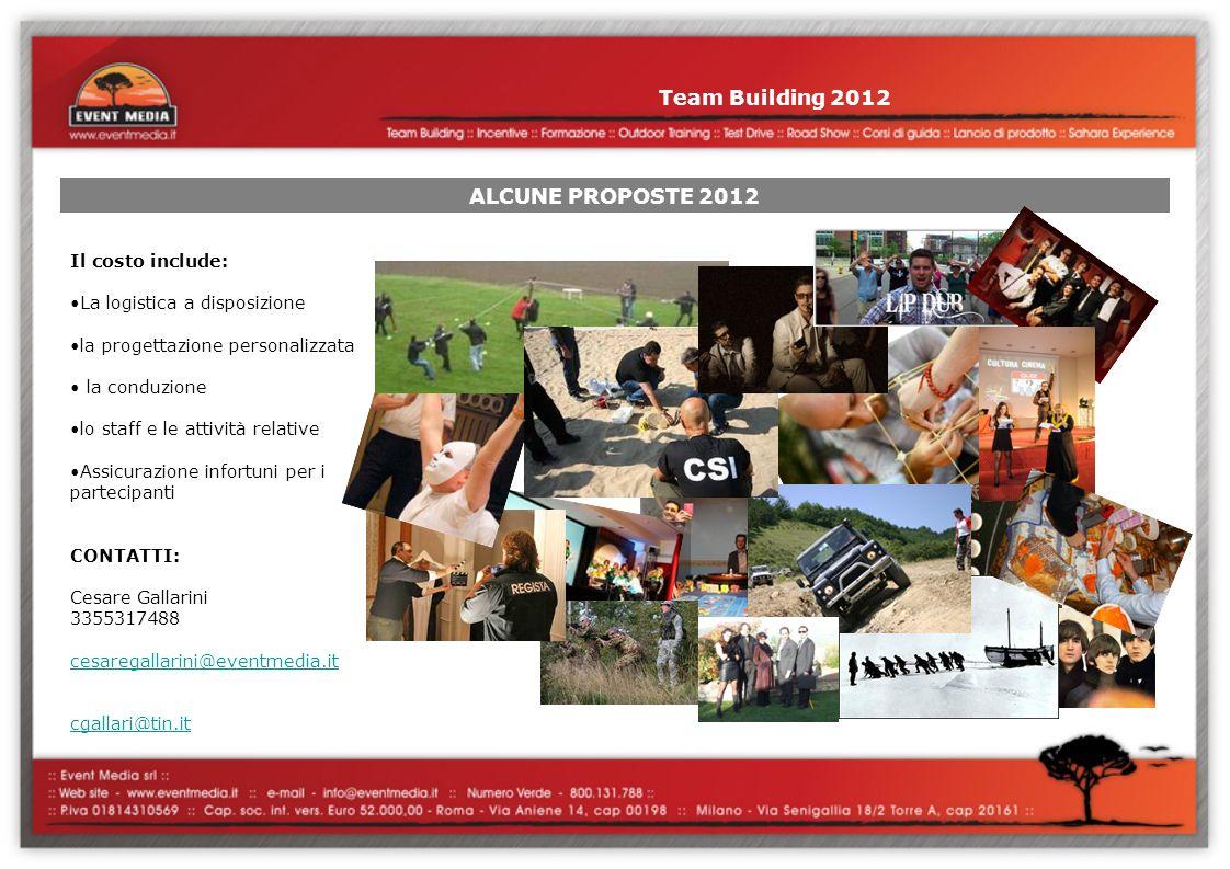 Team Building 2012 ALCUNE PROPOSTE 2012 Il costo include: La logistica a disposizione la progettazione personalizzata la conduzione lo staff e le atti