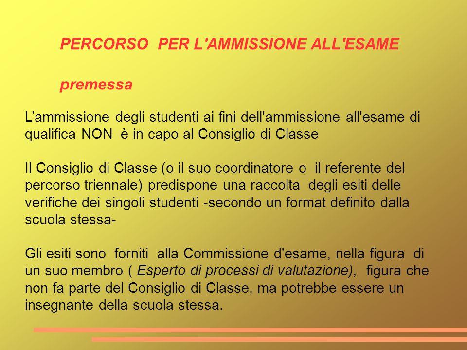Lammissione degli studenti ai fini dell'ammissione all'esame di qualifica NON è in capo al Consiglio di Classe Il Consiglio di Classe (o il suo coordi
