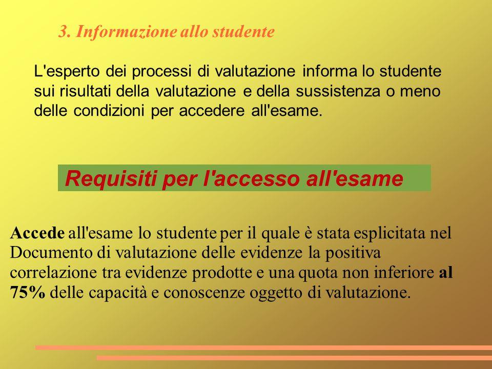 3. Informazione allo studente L'esperto dei processi di valutazione informa lo studente sui risultati della valutazione e della sussistenza o meno del