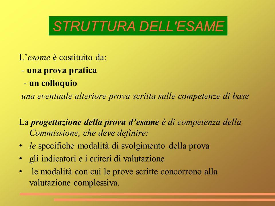 Lesame è costituito da: - una prova pratica - un colloquio una eventuale ulteriore prova scritta sulle competenze di base La progettazione della prova