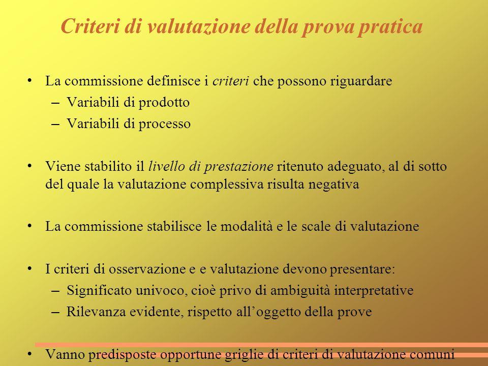 Criteri di valutazione della prova pratica La commissione definisce i criteri che possono riguardare – Variabili di prodotto – Variabili di processo V