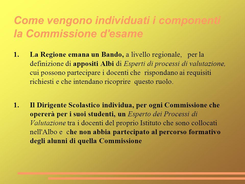 Come vengono individuati i componenti la Commissione d'esame 1.La Regione emana un Bando, a livello regionale, per la definizione di appositi Albi di