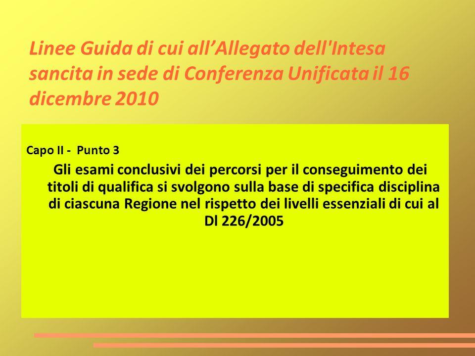 Linee Guida di cui allAllegato dell'Intesa sancita in sede di Conferenza Unificata il 16 dicembre 2010 Capo II - Punto 3 Gli esami conclusivi dei perc
