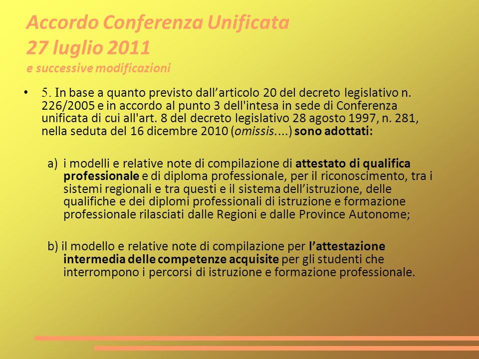Accordo Conferenza Unificata 27 luglio 2011 e successive modificazioni 5. I n base a quanto previsto dallarticolo 20 del decreto legislativo n. 226/20