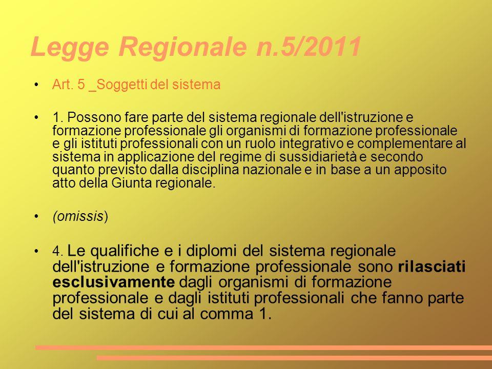 Legge Regionale n.5/2011 Art. 5 _Soggetti del sistema 1. Possono fare parte del sistema regionale dell'istruzione e formazione professionale gli organ