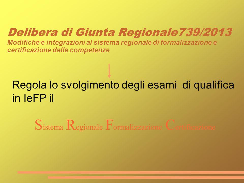 Delibera di Giunta Regionale739/2013 Modifiche e integrazioni al sistema regionale di formalizzazione e certificazione delle competenze Regola lo svol