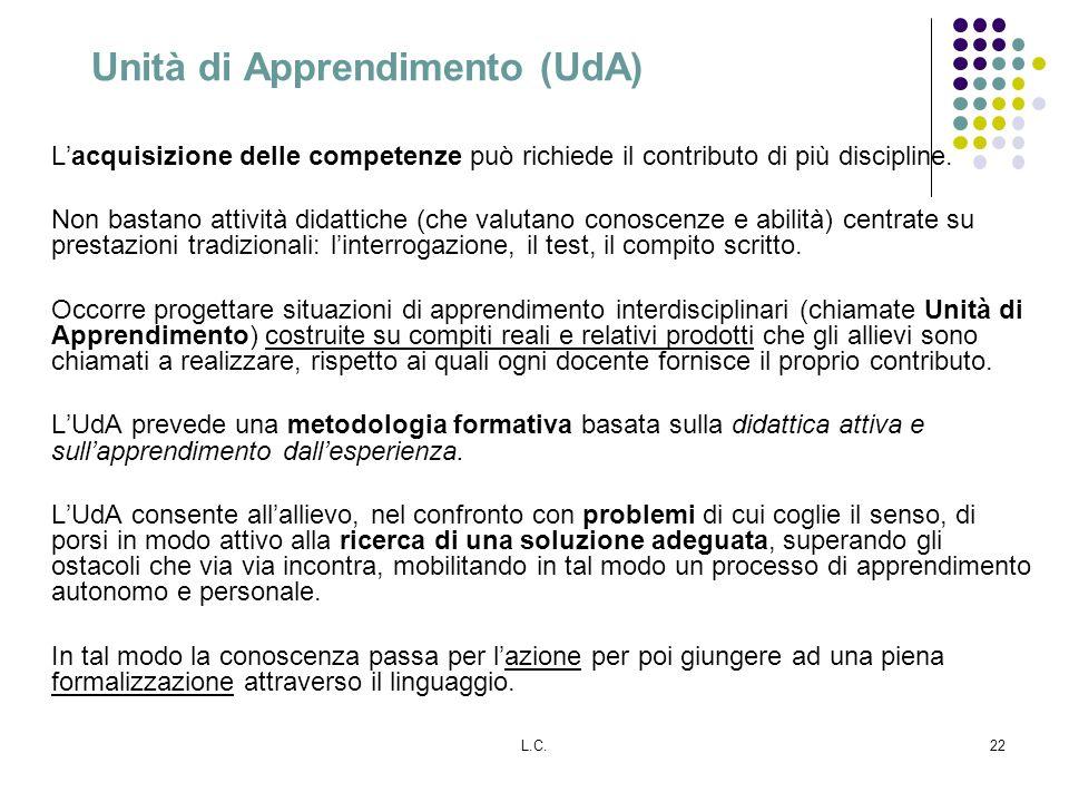 L.C.22 Unità di Apprendimento (UdA) Lacquisizione delle competenze può richiede il contributo di più discipline. Non bastano attività didattiche (che