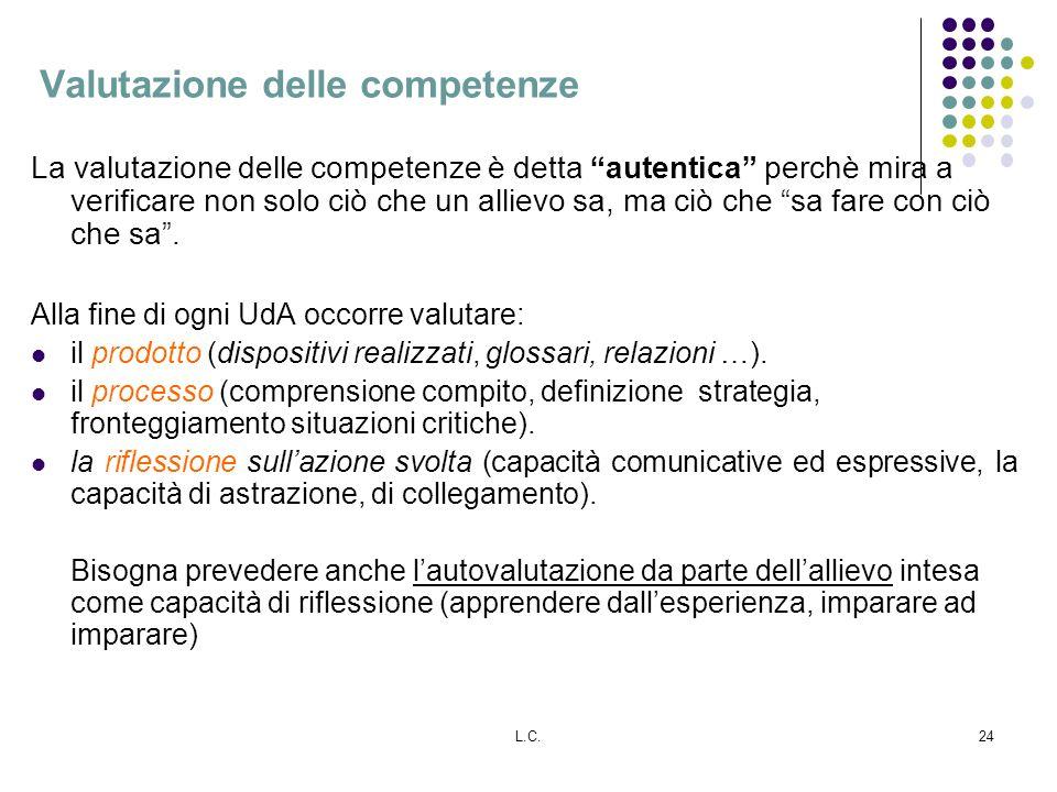 L.C.24 Valutazione delle competenze La valutazione delle competenze è detta autentica perchè mira a verificare non solo ciò che un allievo sa, ma ciò