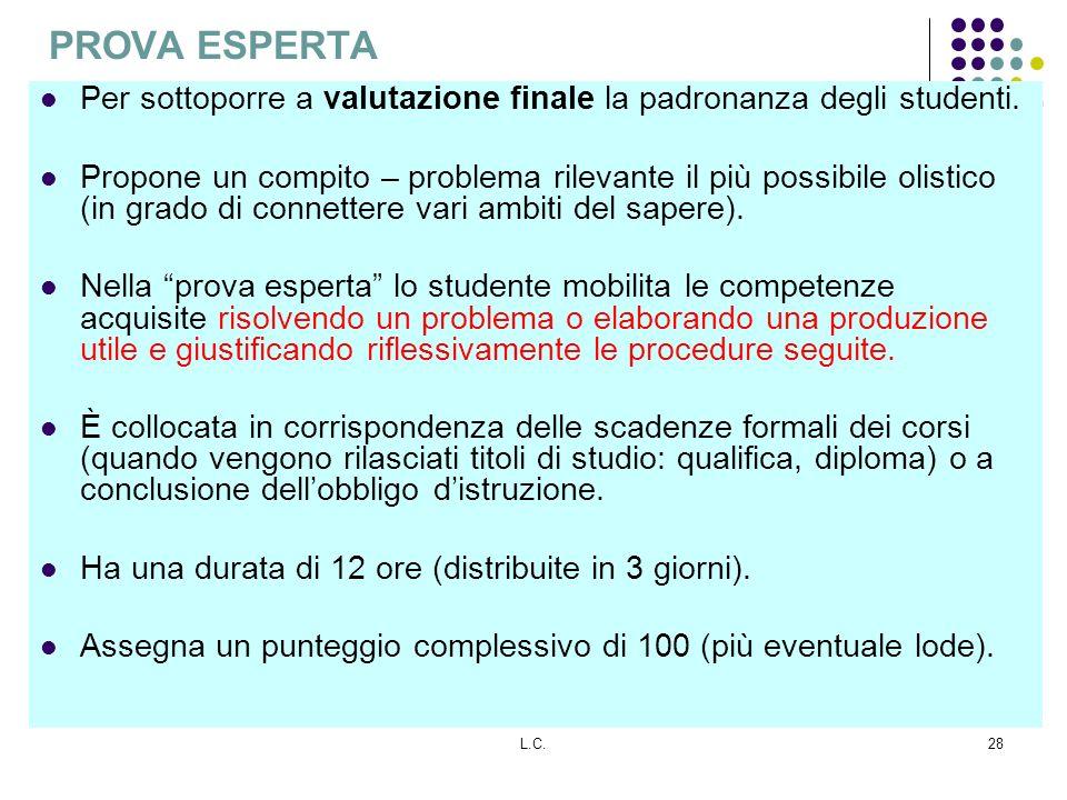 L.C.28 PROVA ESPERTA Per sottoporre a valutazione finale la padronanza degli studenti. Propone un compito – problema rilevante il più possibile olisti