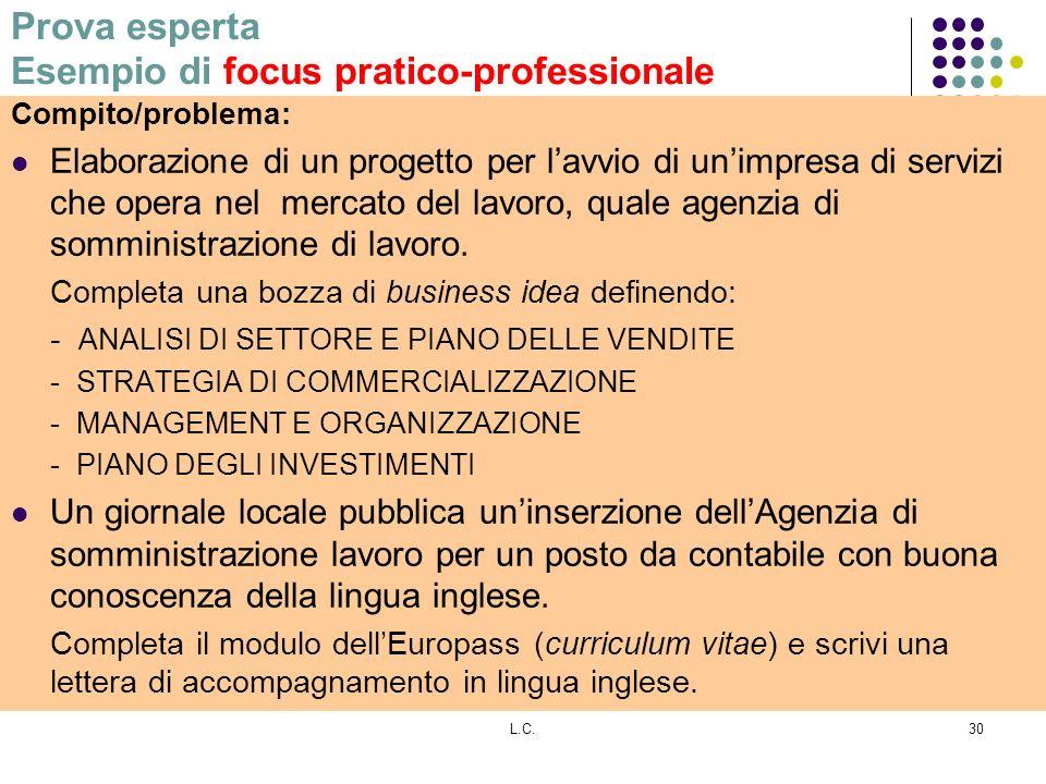 L.C.30 Prova esperta Esempio di focus pratico-professionale Compito/problema: Elaborazione di un progetto per lavvio di unimpresa di servizi che opera