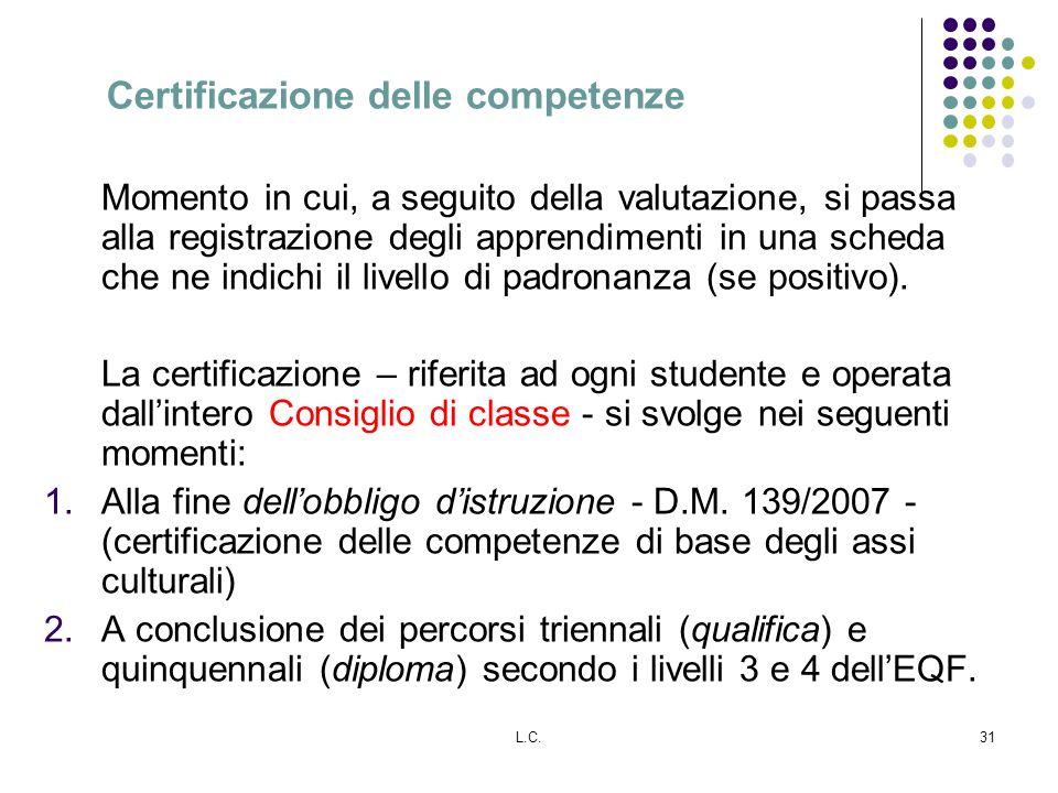 L.C.31 Certificazione delle competenze Momento in cui, a seguito della valutazione, si passa alla registrazione degli apprendimenti in una scheda che