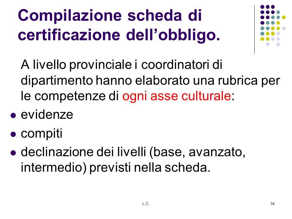 Compilazione scheda di certificazione dellobbligo. A livello provinciale i coordinatori di dipartimento hanno elaborato una rubrica per le competenze