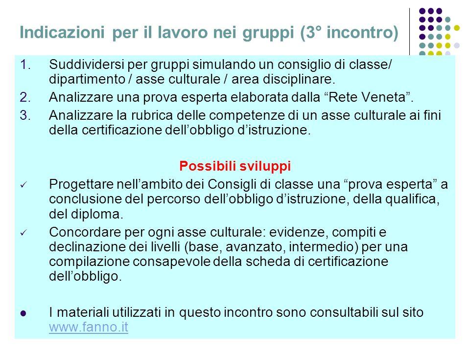 L.C.35 Indicazioni per il lavoro nei gruppi (3° incontro) 1.Suddividersi per gruppi simulando un consiglio di classe/ dipartimento / asse culturale / area disciplinare.