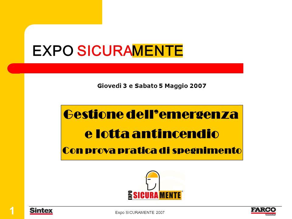 Expo SICURAMENTE 2007 1 EXPO SICURA Giovedì 3 e Sabato 5 Maggio 2007 MENTE Gestione dellemergenza e lotta antincendio Con prova pratica di spegnimento
