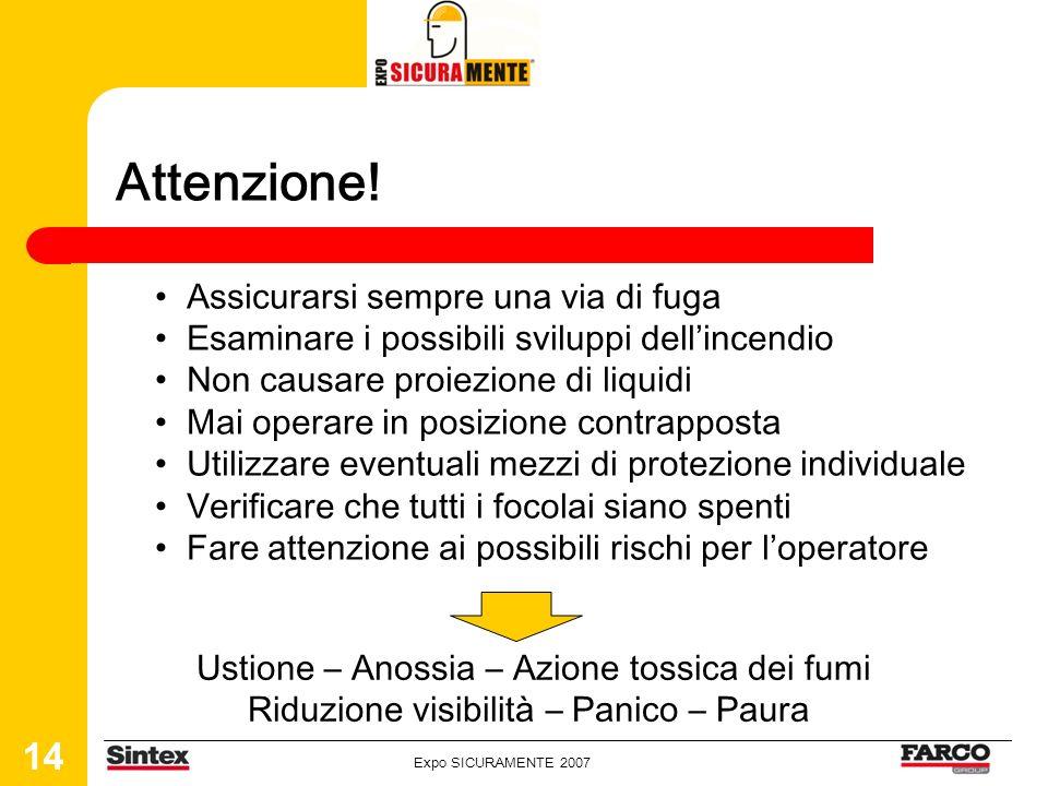 Expo SICURAMENTE 2007 14 Attenzione! Assicurarsi sempre una via di fuga Esaminare i possibili sviluppi dellincendio Non causare proiezione di liquidi