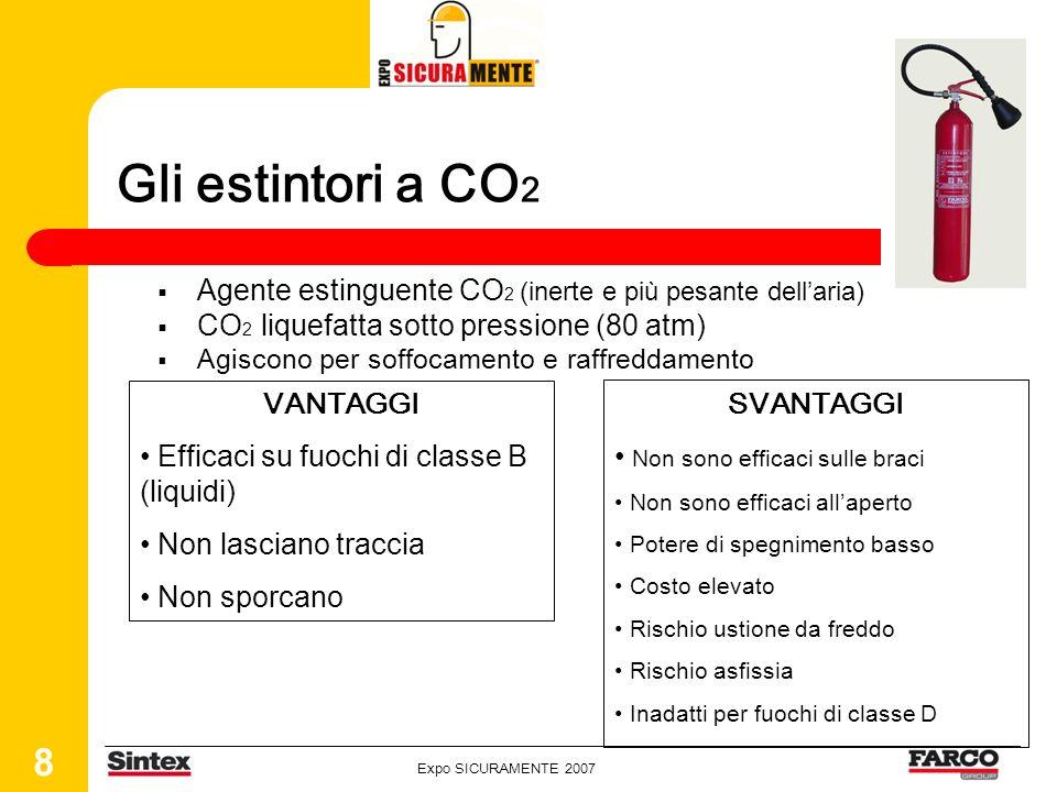 Expo SICURAMENTE 2007 8 Gli estintori a CO 2 Agente estinguente CO 2 (inerte e più pesante dellaria) CO 2 liquefatta sotto pressione (80 atm) Agiscono