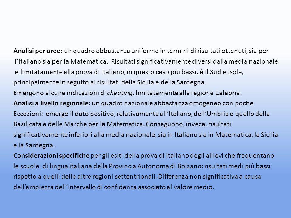 Analisi per aree: un quadro abbastanza uniforme in termini di risultati ottenuti, sia per lItaliano sia per la Matematica.