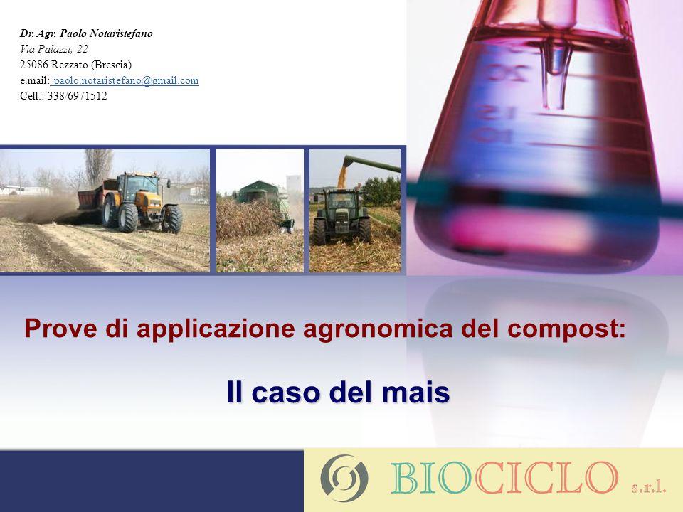 Prove di applicazione agronomica del compost: Il caso del mais Dr. Agr. Paolo Notaristefano Via Palazzi, 22 25086 Rezzato (Brescia) e.mail: paolo.nota