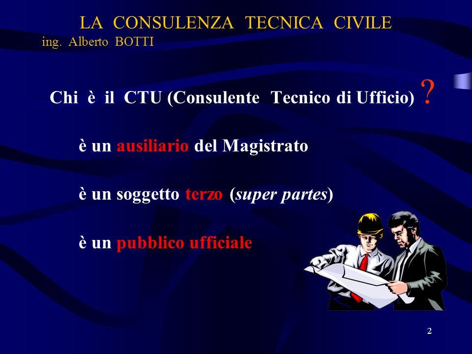 LA CONSULENZA TECNICA CIVILE ing. Alberto BOTTI Chi è il CTU (Consulente Tecnico di Ufficio) ? è un ausiliario del Magistrato è un soggetto terzo (sup