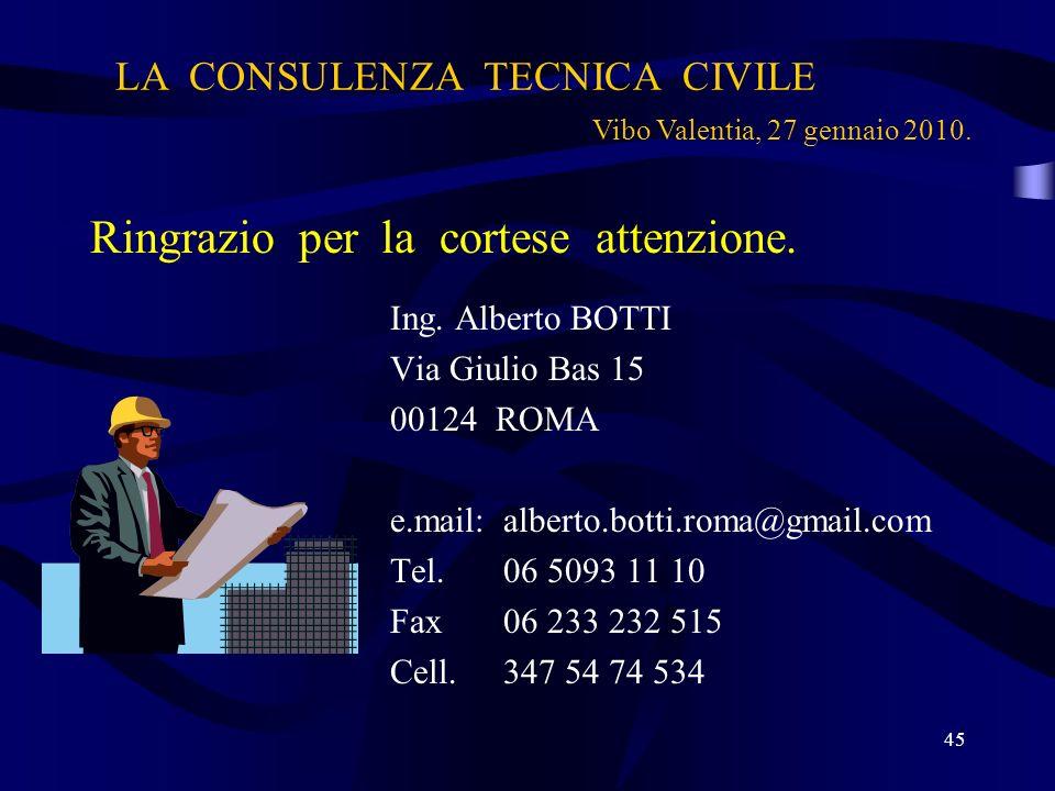 LA CONSULENZA TECNICA CIVILE Ringrazio per la cortese attenzione. Ing. Alberto BOTTI Via Giulio Bas 15 00124 ROMA e.mail:alberto.botti.roma@gmail.com
