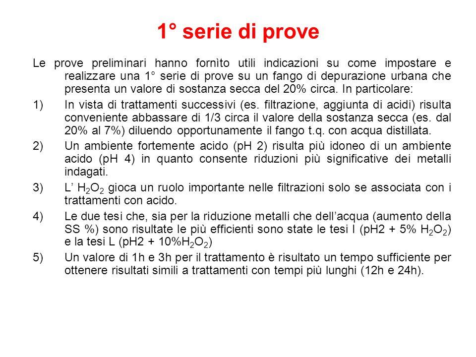 1° serie di prove Le prove preliminari hanno fornìto utili indicazioni su come impostare e realizzare una 1° serie di prove su un fango di depurazione