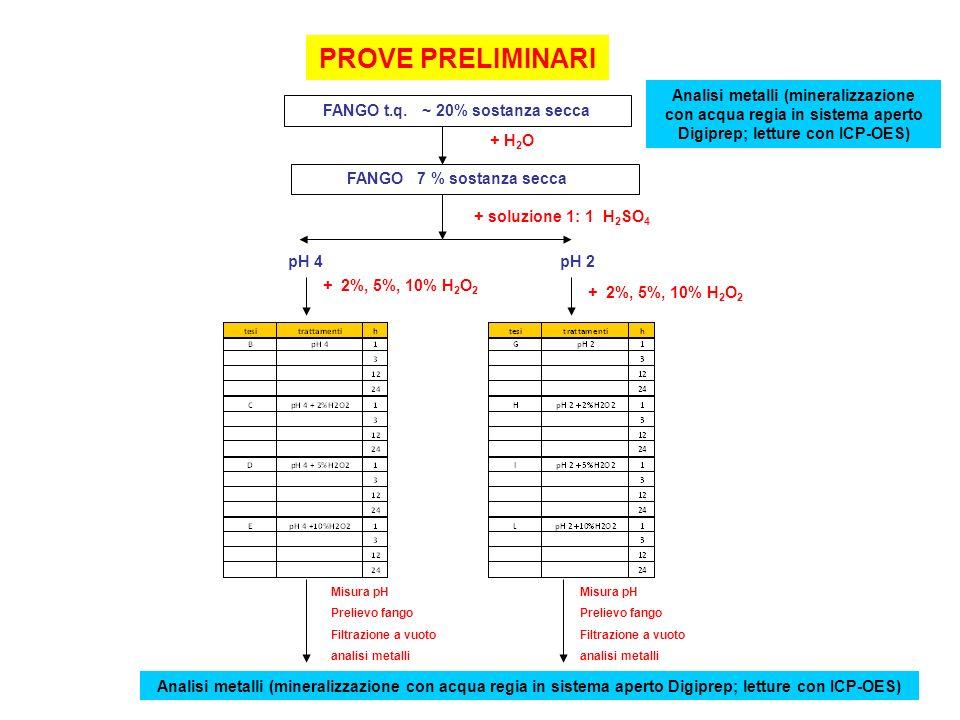 PROVE PRELIMINARI FANGO t.q. ~ 20% sostanza secca + H 2 O FANGO 7 % sostanza secca pH 4 + soluzione 1: 1 H 2 SO 4 pH 2 + 2%, 5%, 10% H 2 O 2 Misura pH