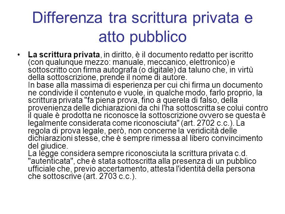 Differenza tra scrittura privata e atto pubblico La scrittura privata, in diritto, è il documento redatto per iscritto (con qualunque mezzo: manuale,