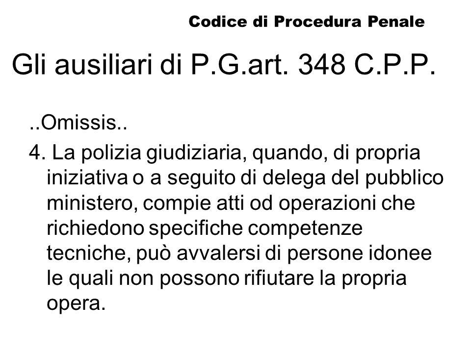 Gli ausiliari di P.G.art. 348 C.P.P...Omissis.. 4. La polizia giudiziaria, quando, di propria iniziativa o a seguito di delega del pubblico ministero,