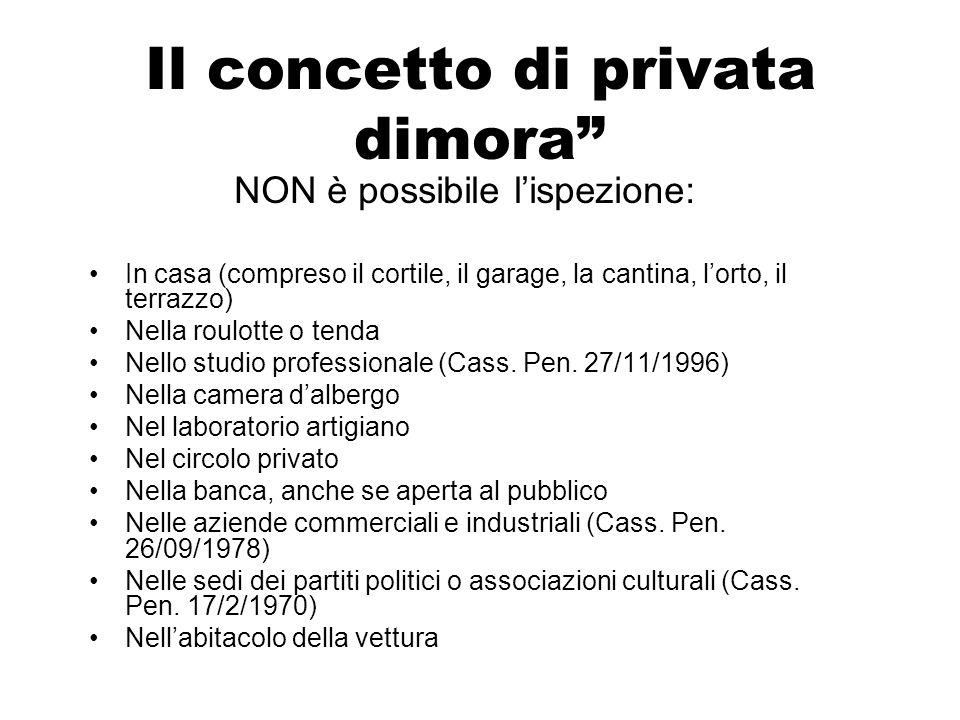 Il concetto di privata dimora NON è possibile lispezione: In casa (compreso il cortile, il garage, la cantina, lorto, il terrazzo) Nella roulotte o te