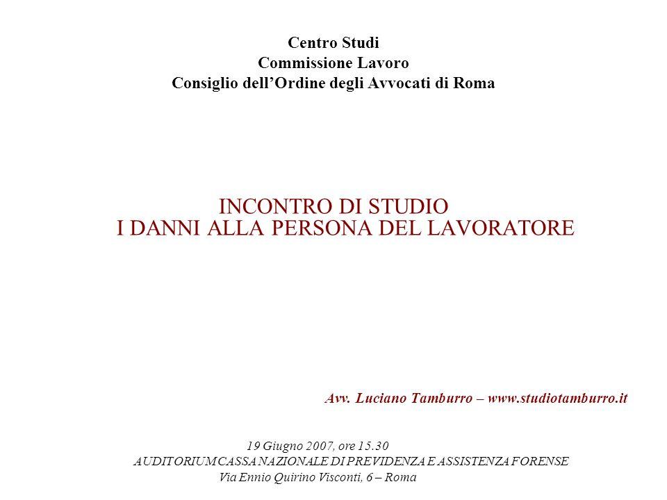 Centro Studi Commissione Lavoro Consiglio dellOrdine degli Avvocati di Roma INCONTRO DI STUDIO I DANNI ALLA PERSONA DEL LAVORATORE Avv.