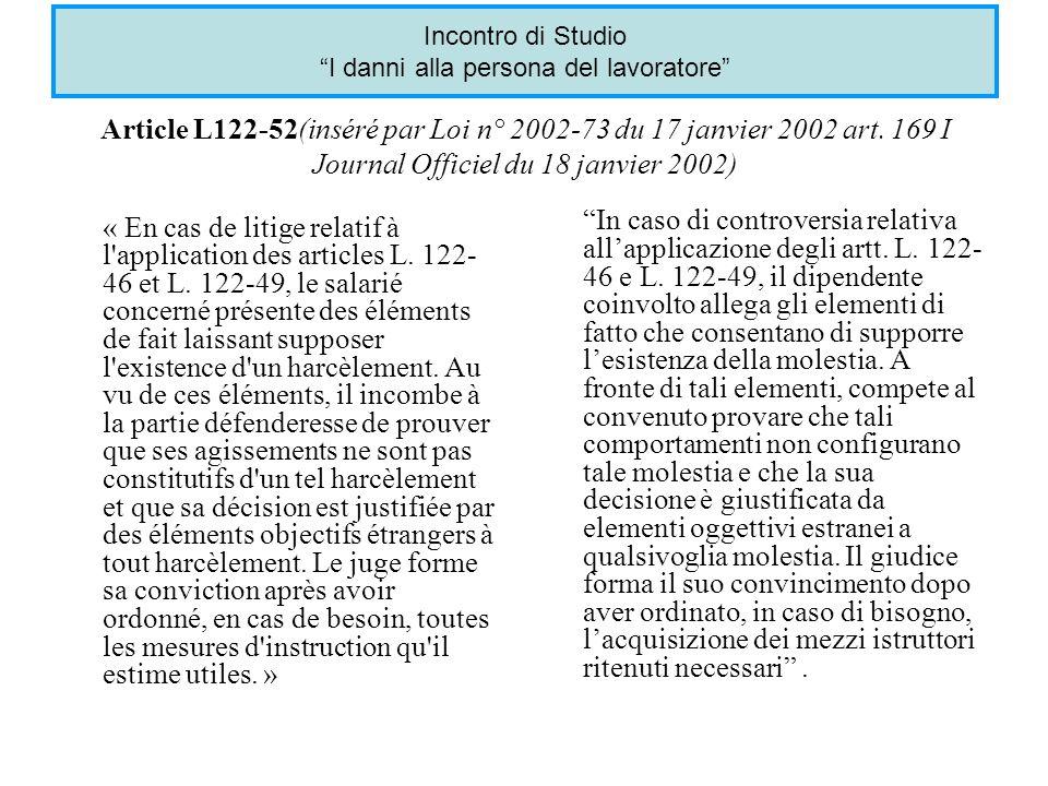 Article L122-52(inséré par Loi n° 2002-73 du 17 janvier 2002 art.