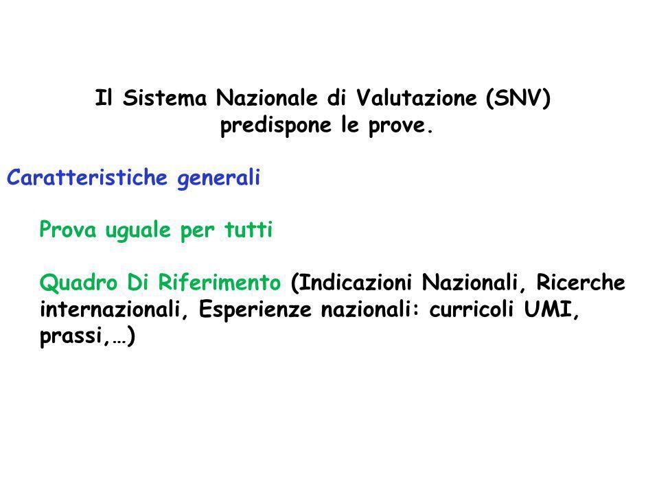 Il Sistema Nazionale di Valutazione (SNV) predispone le prove. Caratteristiche generali Prova uguale per tutti Quadro Di Riferimento (Indicazioni Nazi