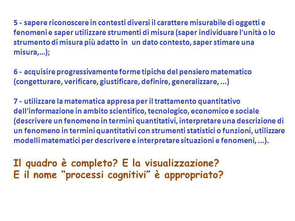 5 - sapere riconoscere in contesti diversi il carattere misurabile di oggetti e fenomeni e saper utilizzare strumenti di misura (saper individuare l'u