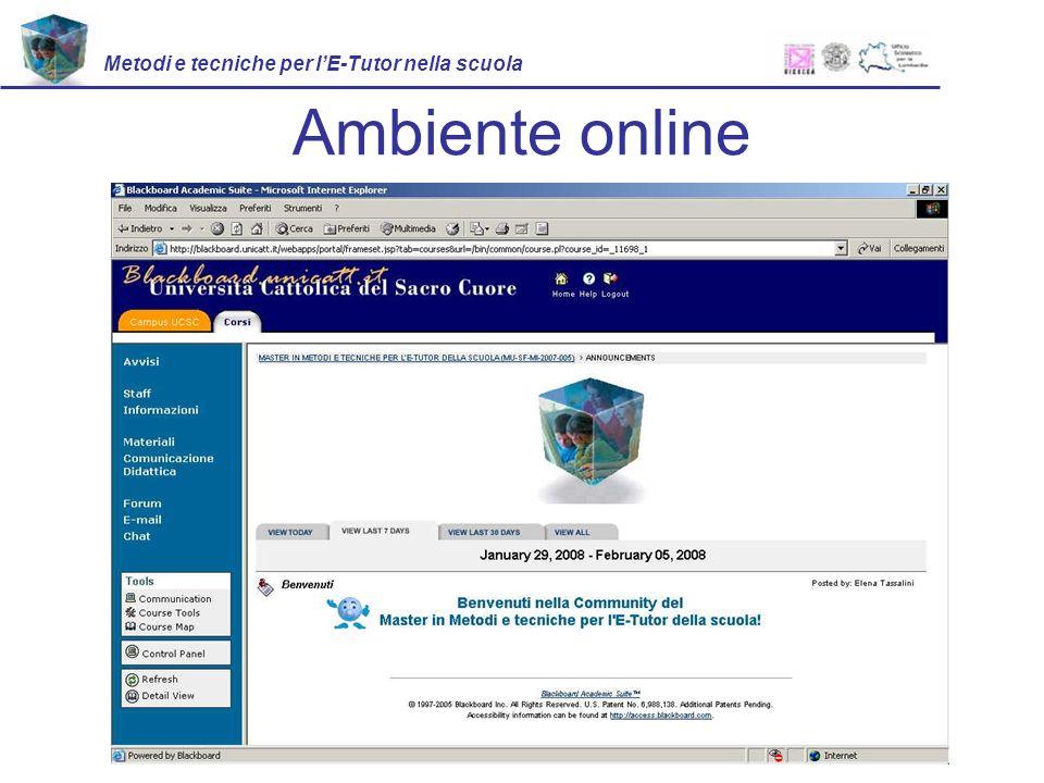 Ambiente online Metodi e tecniche per lE-Tutor nella scuola