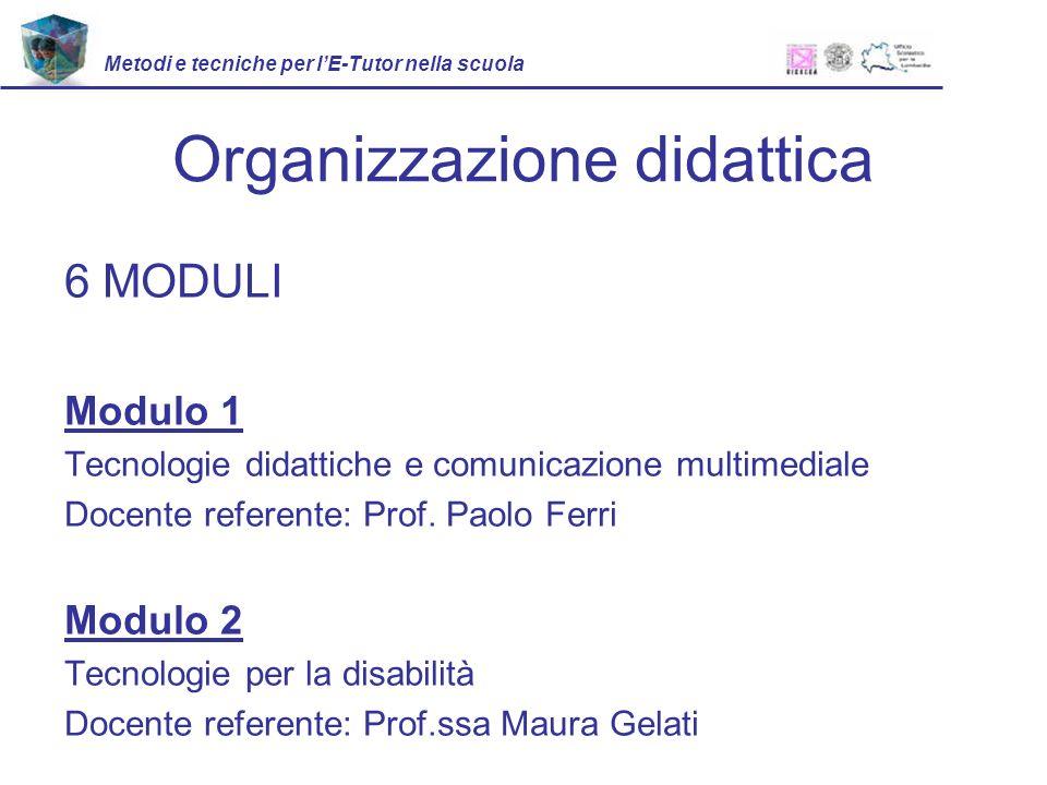 Organizzazione didattica 6 MODULI Modulo 1 Tecnologie didattiche e comunicazione multimediale Docente referente: Prof.