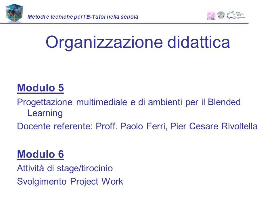 Organizzazione didattica Modulo 5 Progettazione multimediale e di ambienti per il Blended Learning Docente referente: Proff.