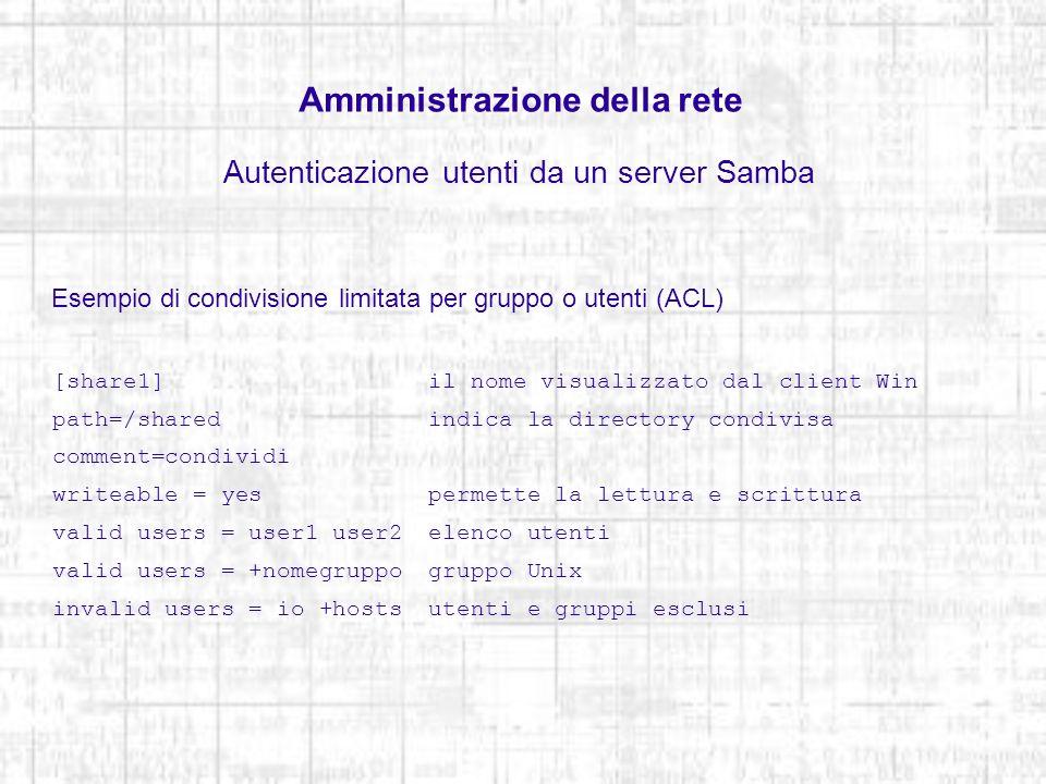 Amministrazione della rete Autenticazione utenti da un server Samba Esempio di condivisione limitata per gruppo o utenti (ACL) [share1] il nome visual