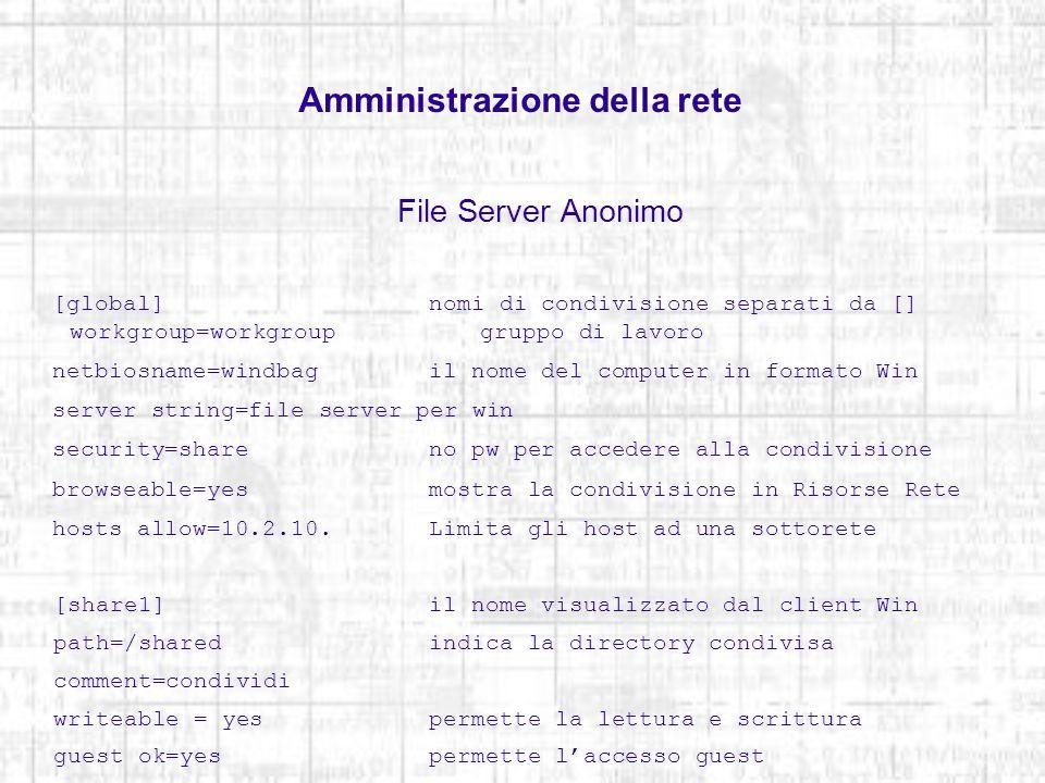 Amministrazione della rete File Server Anonimo Verifica eventuali errori di sintassi nel file di configurazione testparm Riavvia il servizio dopo la modifica del file di configurazione /etc/init.d/smb restart Visualizza lelenco delle condivisioni sul server smbclient -L windbag Gli utenti Windows visualizzano le informazioni contenute nella directory tramite risorse di rete.