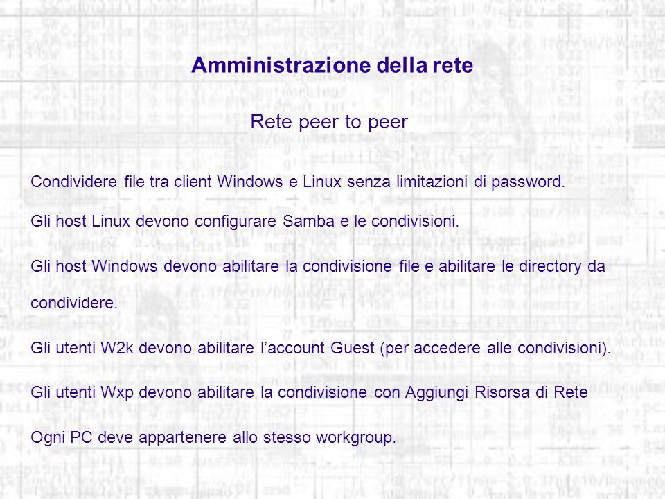 Amministrazione della rete Rete peer to peer Condividere file tra client Windows e Linux senza limitazioni di password. Gli host Linux devono configur