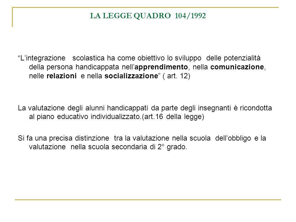 LA LEGGE QUADRO 104/1992 Lintegrazione scolastica ha come obiettivo lo sviluppo delle potenzialità della persona handicappata nellapprendimento, nella
