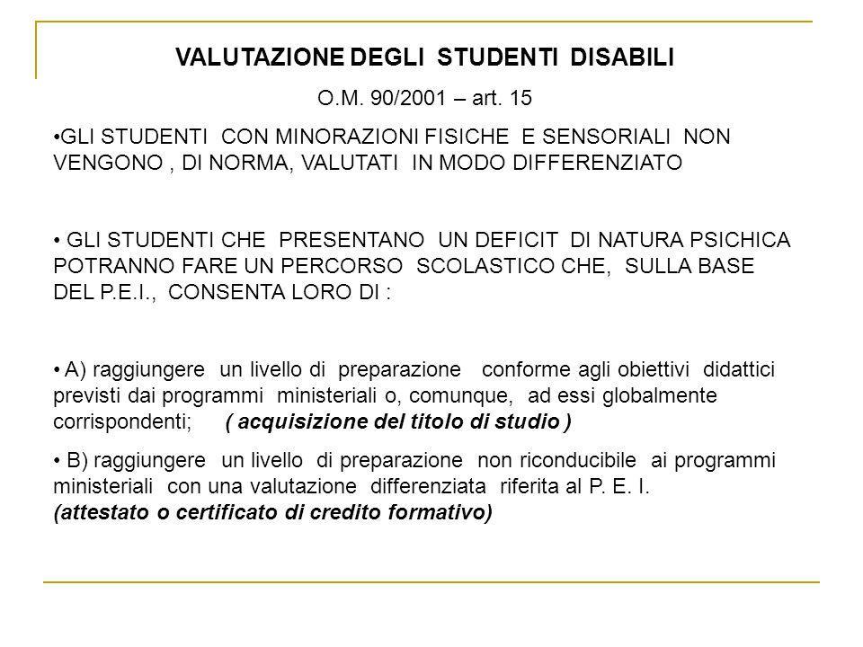 VALUTAZIONE DEGLI STUDENTI DISABILI O.M.90/2001 – art.