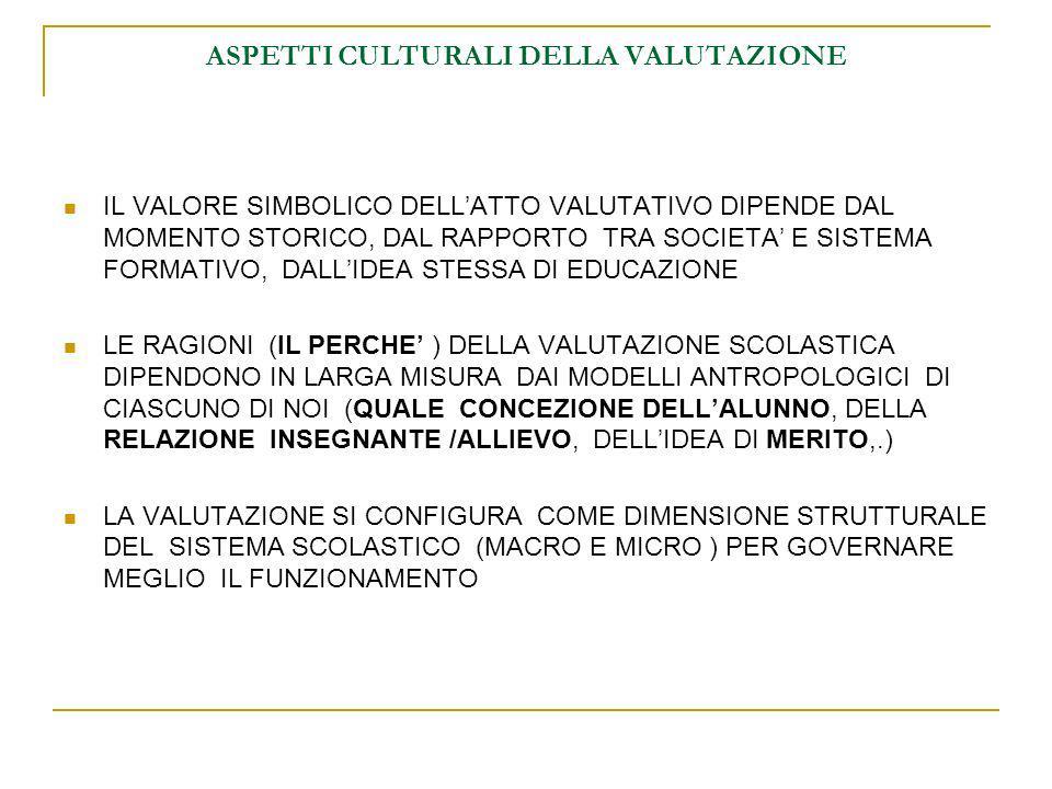 ASPETTI CULTURALI DELLA VALUTAZIONE IL VALORE SIMBOLICO DELLATTO VALUTATIVO DIPENDE DAL MOMENTO STORICO, DAL RAPPORTO TRA SOCIETA E SISTEMA FORMATIVO, DALLIDEA STESSA DI EDUCAZIONE LE RAGIONI (IL PERCHE ) DELLA VALUTAZIONE SCOLASTICA DIPENDONO IN LARGA MISURA DAI MODELLI ANTROPOLOGICI DI CIASCUNO DI NOI (QUALE CONCEZIONE DELLALUNNO, DELLA RELAZIONE INSEGNANTE /ALLIEVO, DELLIDEA DI MERITO,.) LA VALUTAZIONE SI CONFIGURA COME DIMENSIONE STRUTTURALE DEL SISTEMA SCOLASTICO (MACRO E MICRO ) PER GOVERNARE MEGLIO IL FUNZIONAMENTO