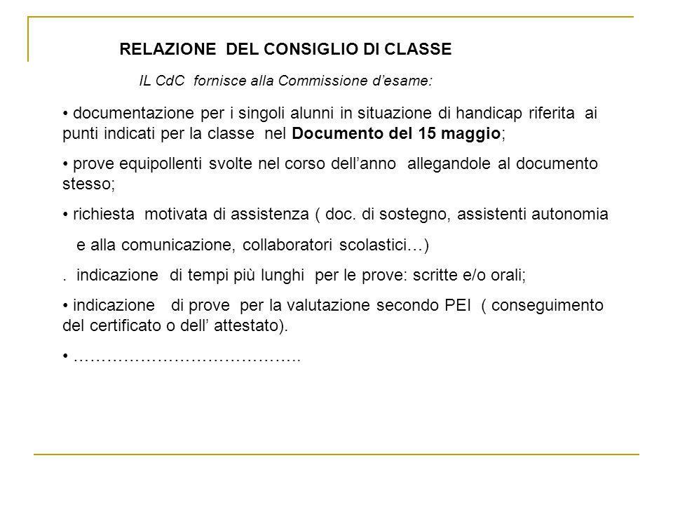 documentazione per i singoli alunni in situazione di handicap riferita ai punti indicati per la classe nel Documento del 15 maggio; prove equipollenti